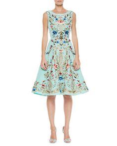 Embroidered Silk A-Line Dress, Aqua by Oscar de la Renta at Neiman Marcus. PreOrder Spring 2014 love it
