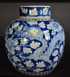 BLUE AND WHITE JAR OF DRAGON PATTERN WITH LID, 19TH C. H: 7 1/2""