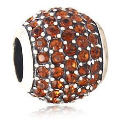 Babao Jewelry Huge Round Brown CZ Crystals 925 Sterling Silver Bead fits Pandora Style European Charm Bracelets. Quantity:1 piece (not include the bracelet). Made of authentic soild 925 sterling silver & high quality cz crystal. Fit all European style bracelets,for example:Pandora,Biagi,Chamilia and Troll Bead Compatible. Bead size approx: 12x10.7 mm;weight: 2.50 grams;hole size: 4.5 mm. Great for Gift.Arrived in Well Package.