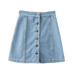 SheIn(sheinside) Buttons Front Denim A-Line Skirt ($17) ❤ liked on Polyvore featuring skirts, bottoms, saias, clothing - skirts, blue, button up front skirt, short blue skirt, short denim skirts, blue a line skirt and short a line skirt