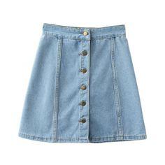 Light Blue Empire Waist Buttons Front Denim Skirt ($27) ❤ liked on Polyvore featuring skirts, short summer skirts, short a line skirt, button front a line skirt, patterned skirts and short denim skirts