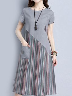 Striped Patchwork Short Sleeve O Neck Pocket Women Dresses Specification: Sleeve Length:Short Sleeve Neckline:O-neck Color:Gray,Navy Style:Striped,Printed Material:Cotton,Linen,Polyester Season:Summer Package included: Tips: The striped print is random. Simple Dresses, Nice Dresses, Short Sleeve Dresses, Dresses Dresses, Hijab Fashion, Fashion Dresses, Batik Dress, Patchwork Dress, Casual Styles