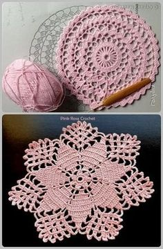 Crochet - Page 16 of 171 - Crochet and Knitting Patterns Crochet Circles, Crochet Doily Patterns, Crochet Mandala, Crochet Round, Crochet Squares, Love Crochet, Filet Crochet, Crochet Designs, Crochet Crafts