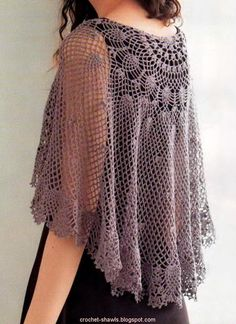 Crochet Shawls: Crochet Lace Cape Pattern Free - beautiful but i can't figure out how to read the chart. Shawl Crochet, Gilet Crochet, Crochet Shawls And Wraps, Crochet Scarves, Crochet Clothes, Crochet Lace, Crochet Capas, Cape Pattern, Crochet Woman