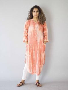 Peach Tie and Dye Cotton Silk Kurta