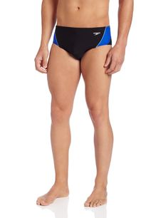 13d21c91c2 Speedo Men's Endurance+ Launch Splice Brief Swimsuit, Black/Blue, 36. Speedo  exclusive