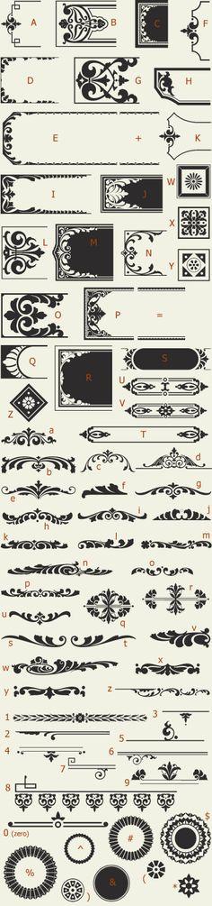 Letterhead Fonts / LHF Saratoga Ornaments / Ornaments and Dingbats NOT FREE