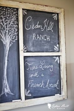 Old Screen Door > Turned Chalk Board: Great tutorial on how to turn an old screen door into a work of art!  www.cedarhillfarmhouse.com