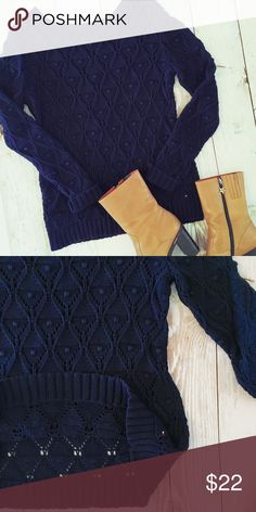 "Tommy Hilfiger Navy Blue Crochet Knit Sweater Tommy Hilfiger crochet knit sweater with ribbed sleeve and hem. Excellent condition! I have a red one listed as well 🙂 🛍Bundle to save! 🛍 28"" length 19"" across underarm to underarm Tommy Hilfiger Sweaters Crew & Scoop Necks"