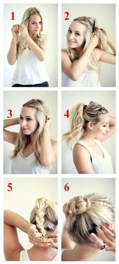 20 Chic Bun Hairstyles We Love - Hot Beauty Health Casual Braided Bun Tutorial: High Bun Updos Pretty Hairstyles, Braided Hairstyles, Chic Hairstyles, Easy Hairstyles For Work, Wedding Hairstyles, Everyday Hairstyles, Waitress Hairstyles, Easy Casual Hairstyles, Ladies Hairstyles