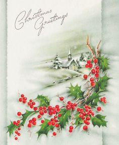 Christmas Greeting. Vintage Christmas Card. Retro Christmas Card. Christmas Holly.