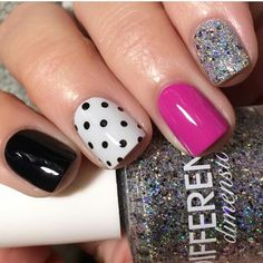 Accent nails are a really good way to enliven your routine manicure. Accent nails are astoundingly popular because they can really make your nails pop. Pink Nail Designs, Simple Nail Designs, Beautiful Nail Designs, Nails Design, Nail Polish Designs, Gel Polish, Toe Nails, Pink Nails, Bright Nails