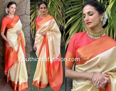 Shilpa Reddy in a Kanjivaram saree – South India Fashion Gold Silk Saree, Soft Silk Sarees, Red Saree Wedding, Set Saree, Kanjivaram Sarees Silk, Saree Jewellery, Pattu Saree Blouse Designs, Simple Sarees, Saree Trends