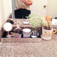 """Shiner Blondes and Macarons on Instagram: """"Bathroom vanity is a work in progress.  I love decorating the new place. #shinerblondesandmacarons #homedecor #tjmaxx #maxxinista #maxxlife #marshalls #fabfound #targetstyle #anthropologie #chanel #blogger #houstonblogger #hfbloggers #personalstyle #bathroomdecor #decor"""""""