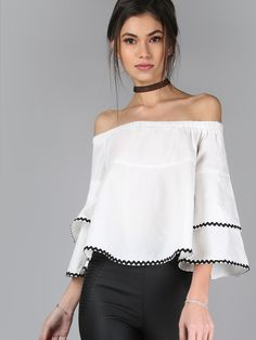Shop Off Shoulder Ruffle Sleeve Top WHITE online. SheIn offers Off Shoulder  Ruffle Sleeve Top WHITE   more to fit your fashionable needs. 7d7da0278