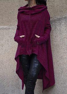 Pocket Design Burgundy Long Pullover Hoodie
