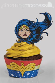 Wonder Woman Inspired Cupcake Wrappers & by CharmingMadness