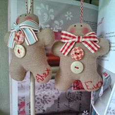 Gingerbread men ornaments - personalized with names. Pic for inspiration - could make out of felted wool.