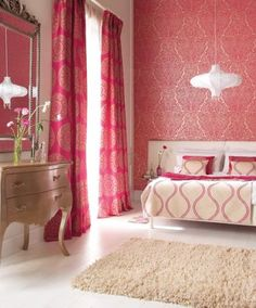 Coral Bedroom, good for any age! Coral Bedroom, Dream Bedroom, Home Decor Bedroom, Bedroom Colours, Girls Bedroom, Bedroom Ideas, Master Bedroom, Harlequin Fabrics, Harlequin Wallpaper