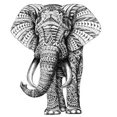 Ornate Elephant by BioWorkZ is beautiful black and white animal art but actually created by mistake by the artist! (Watch the BioWorkZ video to learn more about that.) We're glad he didn't just forget it so we can offer this elephant wall decal to you now. This standing elephant decal is dramatic and will easily peel and stick to any surface. Try it on walls, mirrors, doors, windows – easy installation guaranteed! This large exotic animal sticker features the elephant with his trunk turned…