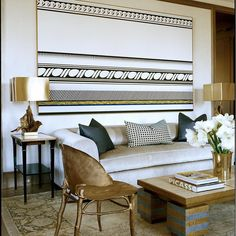 This Living Room of a Fifth Avenue apartment features a beautiful Roy…