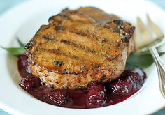 grilled pork chops with a blackberry wine barbecue sauce
