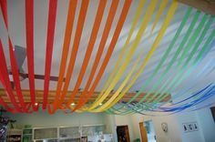 Simple idea for rainbow themed decor using crepe paper streamers Crepe Paper Decorations, Streamer Decorations, Crepe Paper Streamers, Rainbow Parties, Rainbow Birthday Party, Birthday Fun, Birthday Parties, Birthday Ideas, Disco Party