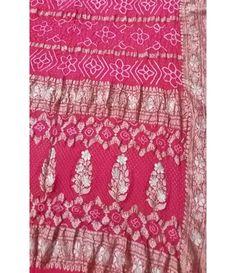 Pink Banarasi Bandhani Pure Georgette Saree