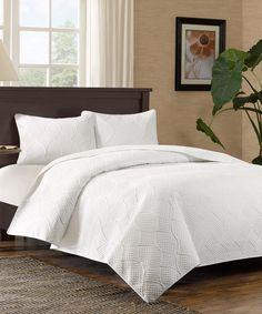Look at this White Curve Quilted Coverlet Set on #zulily today!