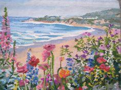 SALE SUMMER Garden Beach Scene Hand Made Tapestry by Esoterique50, $99.00