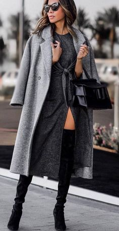 black and grey fashion trends_coat dress bag over knee boots