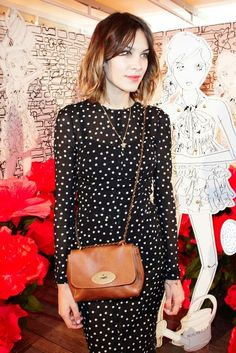 Alexa Chung-Polka Dot Dress w/ brown cross body and red lips Look Fashion, Street Fashion, Womens Fashion, Preppy Fashion, Tokyo Fashion, Petite Fashion, Rock Dress, Alexa Chung Style, Looks Street Style