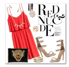 """""""Red & Nude"""" by christinacastro830 ❤ liked on Polyvore featuring H&M, Shiseido, NARS Cosmetics, CC SKYE, Jeweliq and Maria Francesca Pepe"""