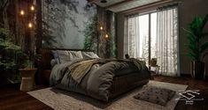 В зимнем доме спальня on Behance Log Home Bedroom, Cozy Bedroom, Bedroom Decor, Interior Architecture, Interior Design, Small Bedroom Designs, Inside Design, Cool Rooms, Wood Design