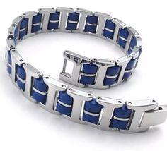 CROWN MENS Blue Stainless Steel Bracelet