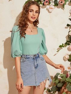 Shop Square Neck Puff Sleeve Top at ROMWE, discover more fashion styles online. Crop Top Outfits, Cute Casual Outfits, Stylish Outfits, Look Fashion, Fashion Outfits, Fashion Styles, Fashion Design, Sleeves Designs For Dresses, Looks Style