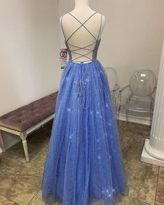 Beautiful A Line Spaghetti Straps Blue Long Prom Dresses with Beading sold by BeautyLady on Storenvy