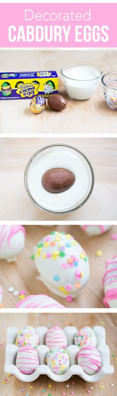 Decorated Cadbury Eggs – a fun and simple Easter treat that the kids can help with!