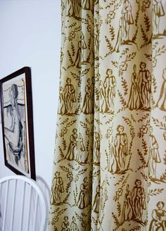 """Toile Window curtains SAMPLE SALE  gold cotton window curtain window treatment drapes - ONE panel 44""""w x 108"""" Block Printed by natural dyes"""