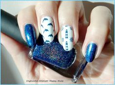 Unghiutze colorate-Happy nails: Nail Art Marathon-15.Dolphins,whales or favorite water animal
