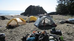 Beach camp on the West Coast Trail.
