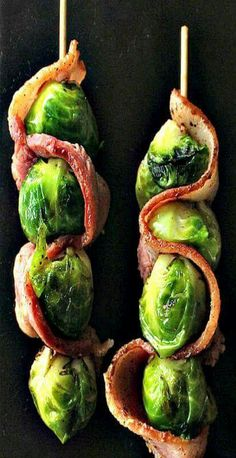Veggies always taste better with bacon! Simply wrap Bar-S bacon throughout the brussel sprout skewer and grill it up always taste better with bacon! Simply wrap Bar-S bacon throughout the brussel sprout skewer and grill it up! Good Food, Yummy Food, Yummy Eats, Yummy Snacks, Yummy Yummy, Delish, Paleo Appetizers, Prociutto Appetizers, Sandwich Appetizers