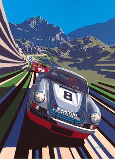 Motorsport artwork by Tim Layzell Martini Porsche - Tim Layzells Graphic Style Captures Sheer Speed Porsche 911 Cabriolet, Porsche Autos, Bmw Autos, Porsche Cars, Auto Motor Sport, Sport Cars, Race Cars, Auto Illustration, Pop Art