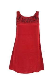 Red Solid Kurti In Shantung; U Neck With Cutwork Embroidery; Sleeveless; 37 Inches In Length #Wishful #Clothing #Fashion #Style #Kurti #Wear #Colors #Apparel #Semiformal #Print #Casuals #W for #Woman