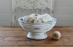 Wooden Pedestal Bowl - White and Gray