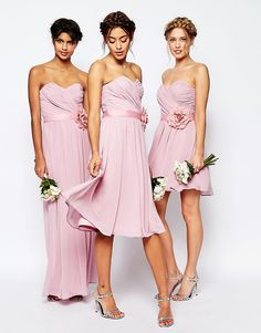 $100's each, solid color bridesmaid combo. Image 4 ofASOS WEDDING Chiffon Midi Bandeau Dress With Detachable Corsage Belt