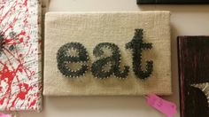 A personal favorite from my Etsy shop https://www.etsy.com/listing/259667435/string-art-for-your-kitchen-eat-with  unique string art gift for any shifts or cook or food lover with burlap background. For anyone that loves to eat food, great Decour for a kitchen