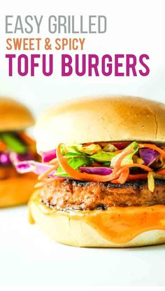 Sweet and Spicy Tofu Burgers – My FAVORITE way to eat tofu. The spicy vegan mayo is SO good. We love to grill these all summer long. Even non-vegans love them! Great for the Fourth of July. Pork Rib Recipes, Tofu Recipes, Burger Recipes, Side Dish Recipes, Grilling Recipes, Vegetarian Recipes, Healthy Recipes, Dinner Recipes, Spicy Recipes
