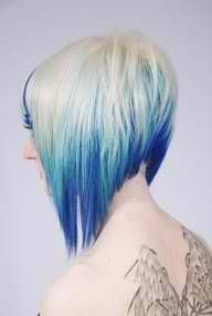 blonde with blue contrast underneath, dramatic sling cut-pin it by carden