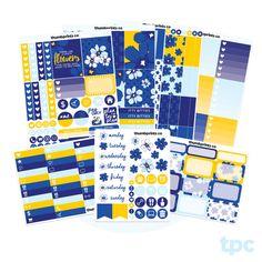 K07 // Cobalt No White Space Full Weekly Kit // Sticker Kit for Vertical Erin Condren Life Planner